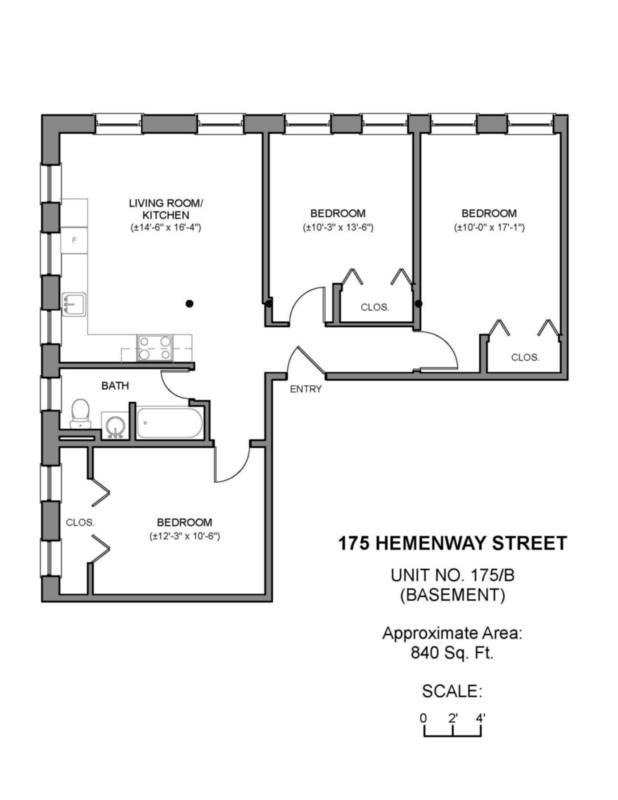 3 Bd on Hemenway St., Heat and Hot Water included, Avail 9/7